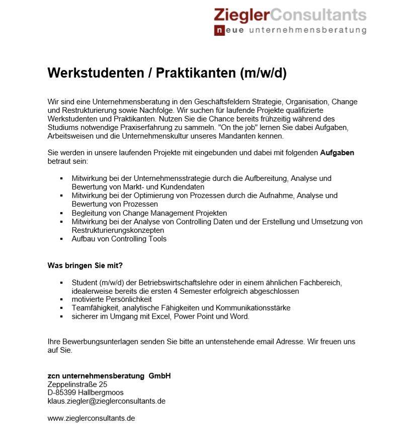 Werkstudenten - Praktikanten - Jobangebot